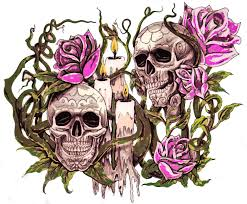 2 skulls roses and candles6 by d and d tattoodesign on deviantart