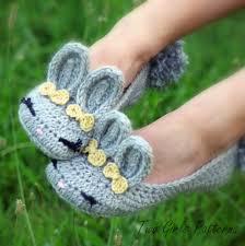 crochet pattern 212 adult bunny slippers women s zoom
