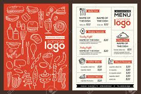 modern restaurant menu cover design pamphlet vector template