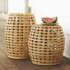 Wicker Accent Table Shore Woven Rattan Coffee Table Williams Sonoma