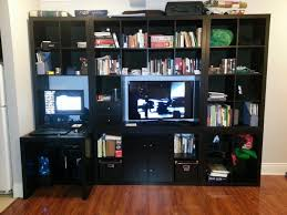 Computer Desk Built In Expedit Wall Unit Tv With Built In Desk Ikea Hackers