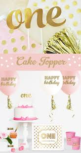 one cake topper pink and gold birthday cake topper one birthday cake topper gold