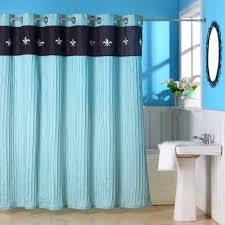 Brown And Teal Shower Curtain by Lavish Home Meridian Grommet Style Ruffle Fleur De Lis Shower