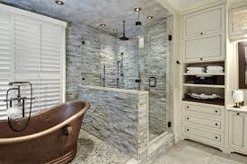 Bathtubs And Vanities Charleston River Stone Tile Bathroom Transitional With Soaking