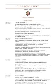 Examples Of Teen Resumes by Teacher Of English Resume Samples Visualcv Resume Samples Database