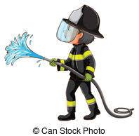 vector clip art of a fireman holding a water hose beside a fire