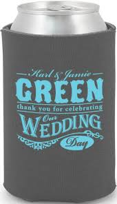 wedding can koozies thank you for cebrating our wedding day can cooler favors