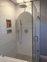 cedar st quincy bay state refinishing walk in glass enclosed shower with floor to ceiling wavy white tile bay