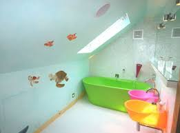colorful sink ideas with green tub and sea theme wallstickers for