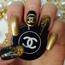 gold and black chanel nails by rosalie g preen me