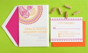 Indian Invitation Card Indian Pattern Letterpress Wedding Invitations