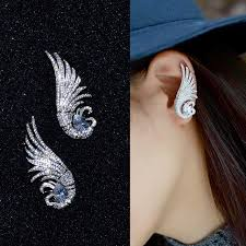 cuff earrings fashion aaa cubic zirconia bird wing ear cuff earrings big