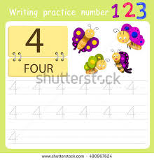 worksheet writing practice number four stock vector 480967624