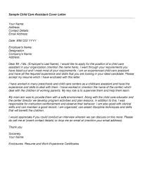 child caregiver cover letter