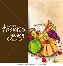 happy thanksgiving day background vegetables fruits stock vector