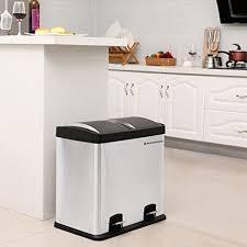 poubelle inox cuisine 48 l poubelle de cuisine résistante avec pédales et 2 compartiments