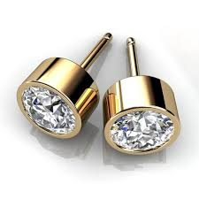 mens gold earrings 14kt yellow gold bezel set diamond stud earrings union diamond