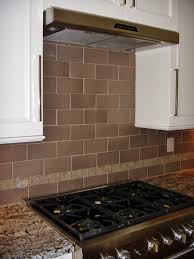 Tiled Kitchen Backsplash 4x8 Porcelain Tile With Glass Crackle Accent Strip At Kitchen