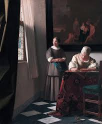 vermeer pearl necklace writing a letter with