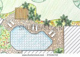 backyard plan landscape architect design backyard plan villa stock illustration