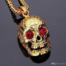 skull pendant necklace images Wholesale 2018 fashion skull pendant hip hop necklace 18k golden jpg