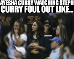 Nba Finals Meme - rt nbamemes ayesha curry watching steph curry foul out warriors