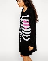 asos halloween skeleton jumper dress lyst