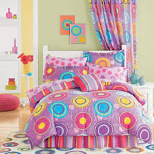 Dot Rug Bedroom Minimalist Colorful Theme Kids Bed Decorating With Purple