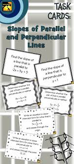 diffeiated set of 30 algebra task cards for slopes of parallel and perpendicular lines