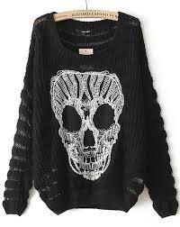 skull sweater black sleeve lace skull pattern sweater shein sheinside