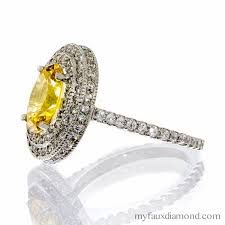 canary engagement ring cubic zirconia vintage canary halo ring my faux