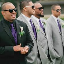 do the colors purple gray match well in clothes fashion samoan groom his groomsmen in purple silver black color