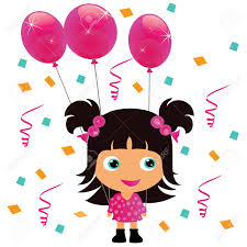 girl birthday girl with pink balloon birthday party royalty free cliparts