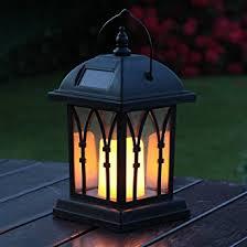 lanterne solaire décorative noir mat avec bougie led effet