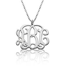 initial monogram necklace sterling silver initial monogram necklace custom
