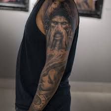 scary full sleeve tattoo by darwin enriquez