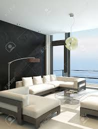 Livingroom Modern Modern Living Room With Huge Windows And Black Stone Wall Stock