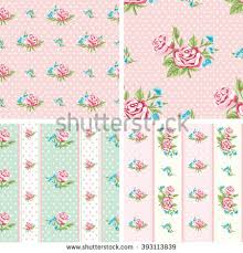Shabby Chic Rose by Shabby Chic Rose Patterns Set Seamless Stock Vector 393113839