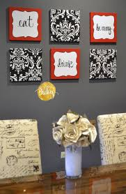 red and black damask eat drink be merry chef wall decor set chef themed kitchen wall art