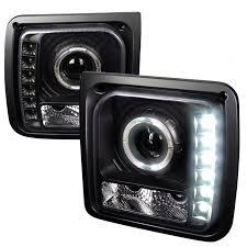 jeep commander black headlights sppc black projector plank style headlights for jeep grand