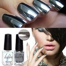 new 2pcs mirror effect chrome metallic silver nail art varnish