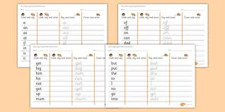 2 high frequency words writing practice worksheets phase