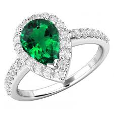 emerald rings uk pear shaped emerald and diamond cluster ring with shoulder stones