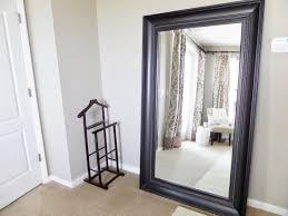 Home Decor Photo Frames Bedroom Large Leaner Mirror With Golden Frame On Orange Wall For