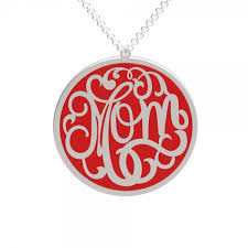 Personalized Monogram Necklace Personalized Monogram Red Enameled Name Necklace In Coin Style