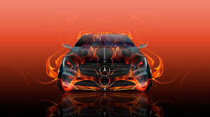 orange mercedes mercedes benz coupe front fire flame abstract car 2016 wallpapers