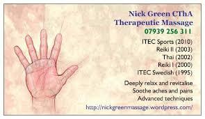 Sports Massage Business Cards Nick Green Holistic Massage Therapeutic Massage Service