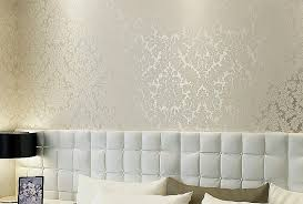 classic damask metallic wallpaper beige and pearly white shimmer