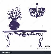 drawing of flower vase on a table drawing sketch library