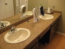 Bathroom Vanity Countertops Ideas Single Bathroom Vanity With Square Brown Marble Top And Rounde